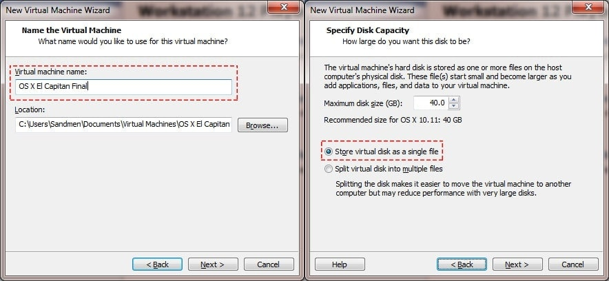 Name and Virtual Machine Disk
