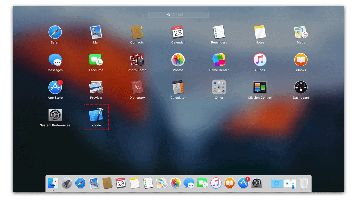 Open Xcode 7 in Launchpad
