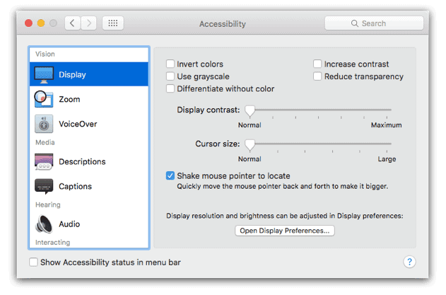 macOS Display Accessibility