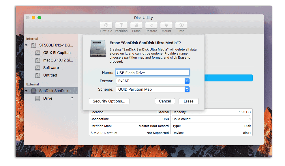 Open Disk Utility on Mac