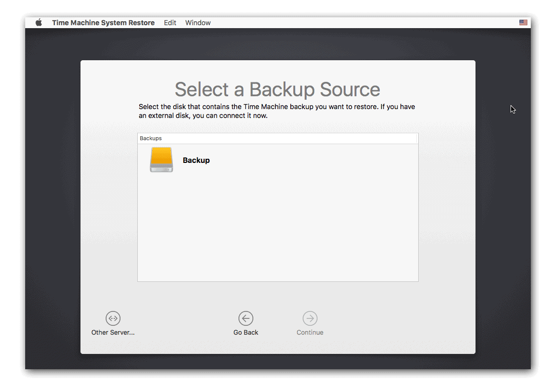 Select a Backup Source