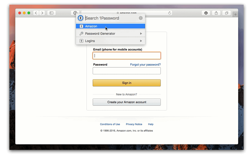 1Password on Safari