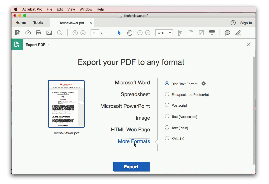 Export Your PDF to any format