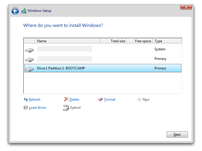 Select Boot Camp Partition