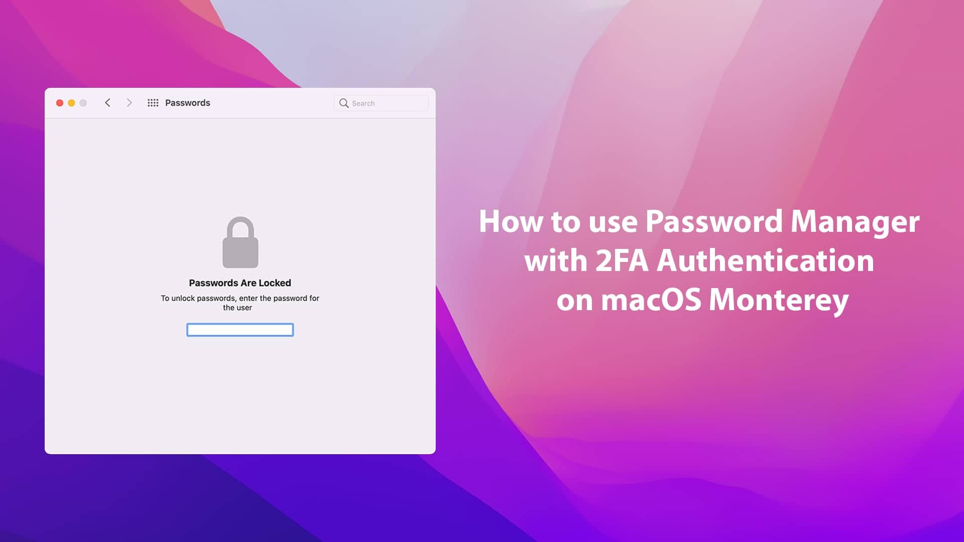 How to use Password Manager with 2FA Authentication on macOS Monterey